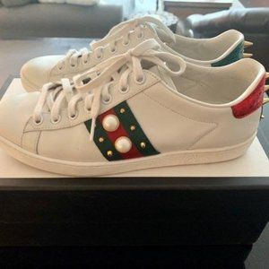 Gucci New Ace Studded Sneakers - Size 37